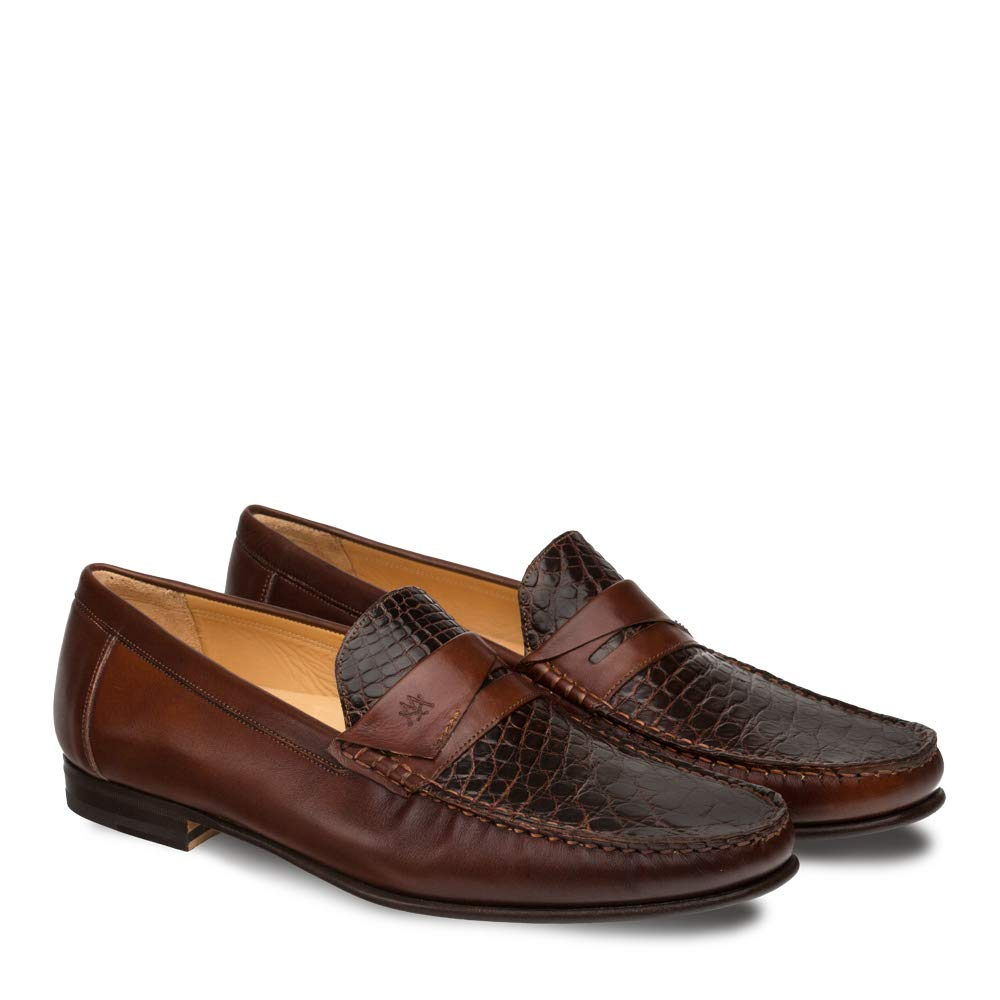 Mezlan SICA Mens Luxury Formal Loafers - Calfskin & Crocodile Slip-On Loafer with Leather Sole - Handcrafted in Spain - Medium Width (10.5, Brown) by Mezlan (Image #3)