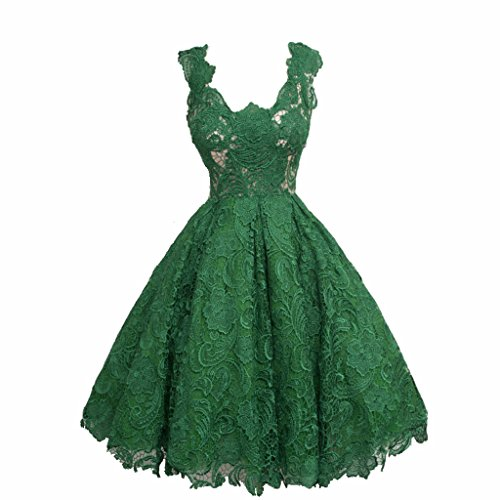 JAEDEN Mujer Sin mangas Cuello en V Encaje Vestidos de baile Corto Vestido de fiesta Vestido de c¨®ctel Verde