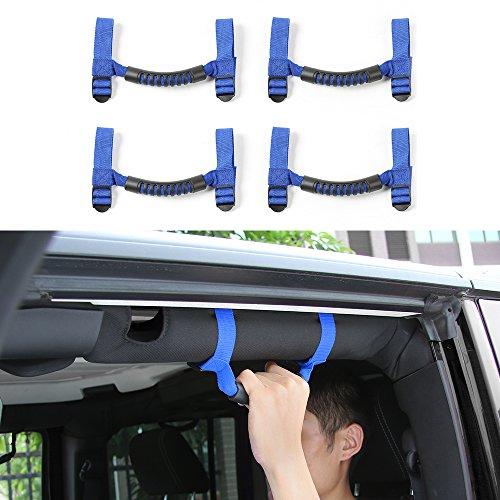 4 PCS Grab Handles Grip Handle Red Holder Roll Bar Grab Handles For Jeep Wrangler JK Unlimited Rubicon 1987-2017 (Blue)