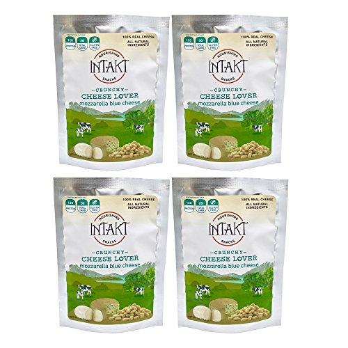 Intakt Cheese Snacks Low Carb Crunchy Bites, made from Grass-Fed Cow's Milk - 4 Pack (Mozzarella Blue Cheese)