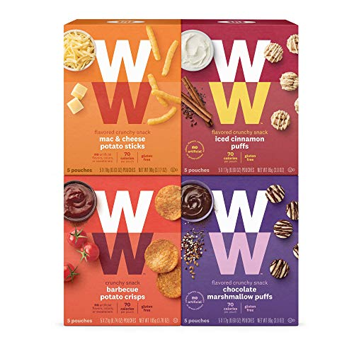 WW Sweet and Savory Crunchy Variety Pack, Barbecue, Mac & Cheese, Chocolate Marshmallow & Iced Cinnamon Puffs, 2 SmartPoints- 5 of Each Flavor (20 Count Total) - Weight Watchers Reimagined