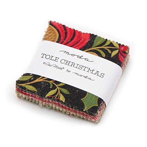 Moda Gina Martin Tole Christmas 42 Mini Charms Fabric Squares 2.5 x 2.5