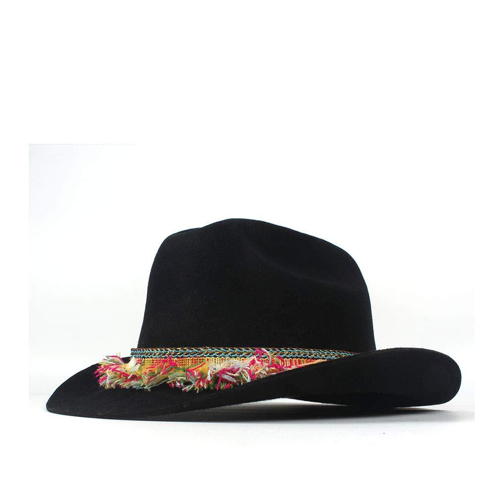 LL Women's Winter 100% Wool Wide Brim Cowboy Western Cowgirl Bowler Hat Fedora Cap Colorful Fringe Belt Jazz Hat (Color : Black, Size : 56-59cm)