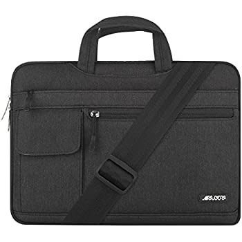 Mosiso Polyester Flapover Laptop Messenger Shoulder Bag Case Cover Briefcase for 13-13.3 Inch MacBook Pro, MacBook Air, Notebook Computer, Black