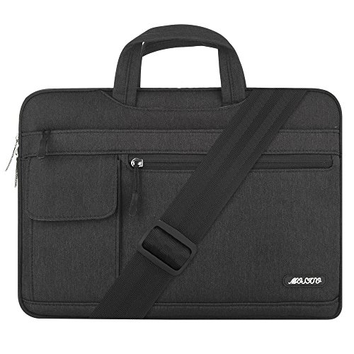 Mosiso Polyester Flapover Style Messenger Shoulder Bag Case Cover Briefcase for 13-13.3 Inch MacBook Pro, MacBook Air, Notebook Computer, Black