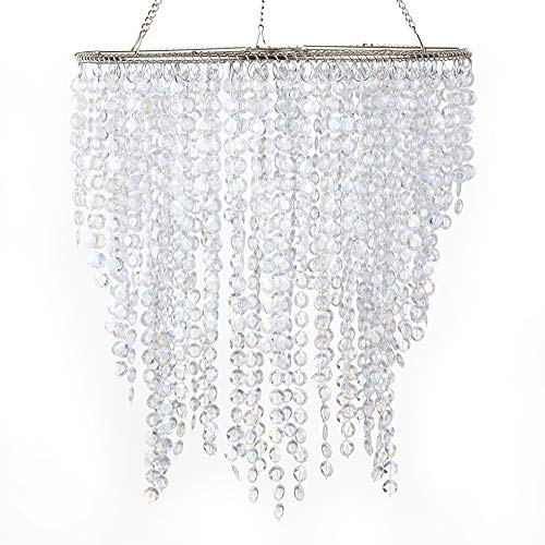 Beaded Chandelier Shade - Wedding Chandeliers Lamp Shade Centerpiece Acrylic Beads Iridescent with Chrome Frame -Drop 11.4 Inches
