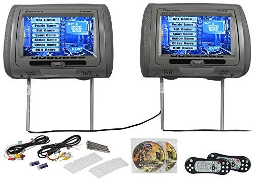 """Gray Headrest (Rockville RTSVD961-GR 9"""" Gray Touchscreen Dual DVD/HDMI Car Headrest Monitors)"""