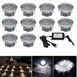 FVTLED Pack of 10 Low Voltage LED Deck lights kits Outdoor Garden Yard Decoration Lamp Recessed Landscape Pathway Step Stair Cold White LED Lighting