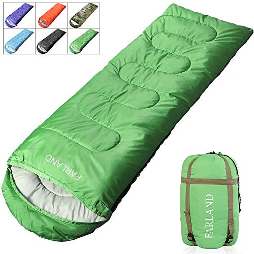 - FARLAND Envelope Sleeping Bag-20 Degrees ℉- 3-4 Season Warm & Cool Weather - Summer, Spring, Fall - Lightweight, Waterproof for Adults & Kids - Camping Gear Equipment, Traveling, and Outdoors