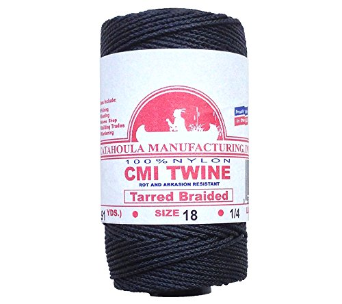 Catahoula Manufacturing #18 Tarred Braided Bank Line, 1/4lb Spool, Black, One Size ()