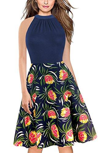 MisShow® Damen 80er Jahre Vintage Kleid Rockabilly Abendkleid ...