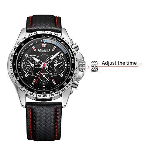 MEGIR Men's Analogue Luminous Quartz Watch with PU Strap for Business Work ML1010GBK-1