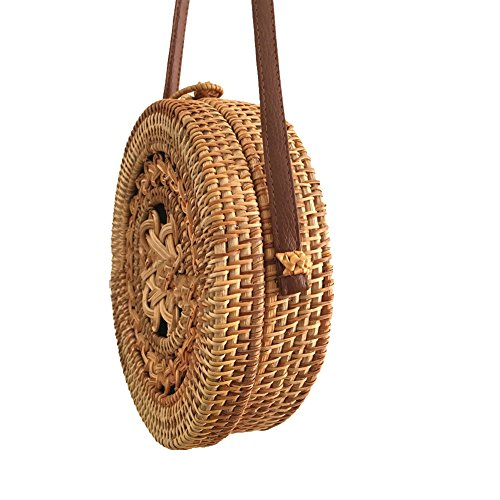Tote Womens Aiurbag Bag With Crossbody Woven handbag Button Rattan PAYUFwP