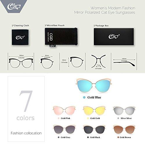 CGID para Gato Gafas mujer de sol Azul MJ23 Ojo De Gafas Dorado 8r1Xq6rWU