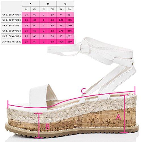 Alpargatas Sandalias Spylovebuy Gladiador de cuero blanco de mujer POPPY estilo zapatos 5XqZwpSOZ