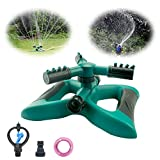 Anoak Lawn Sprinkler, Automatic 360 Rotating Adjustable Garden Water Sprinklers Lawn Irrigation System Covering Large Area with Leak Free Design, Two Modes (Green-1)