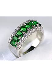 Gemstone Emerald Cz White Gold Filled Women's Wedding Ring Gifts Bridal Jewelry