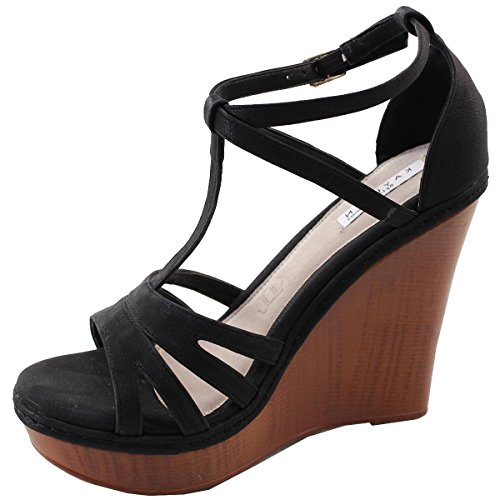 Elegant Footwear Women's T-Strap Open Toe Platform Wedge Sandal,10 B(M) US,Black