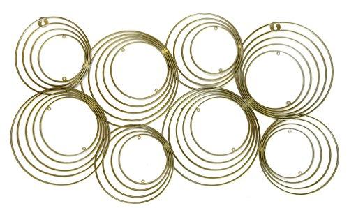 DecorShore Concentric Circles Gold Metal Wall Art, Mid Century Modern Geometric Circle Design Wall Decor, 33 in x 17 in. Wire Wall Decor by Jere Wall