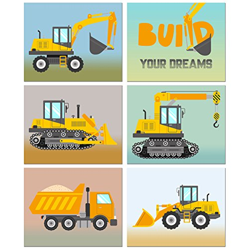 BigWig Prints Construction Trucks Kids Room Wall Decor - Set of 6 (8 inches x 10 inches) - Truck Wall Dump