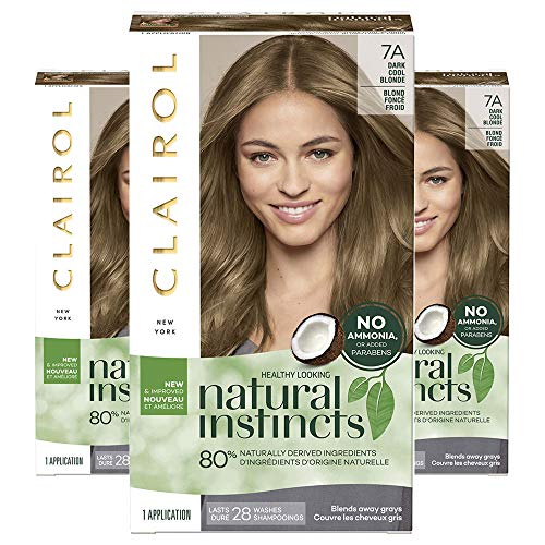 Clairol Natural Instincts Semi-Permanent Ammonia-Free Hair Color, 7A Dark Cool Blonde, Sandalwood, Pack of 3