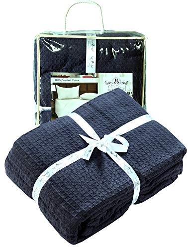 Navy Waffle - Farmhouse Cotton Thermal Blanket in Waffle weave -90x90Full Queen NAVY,Snuggle Super Soft Blanket,Breathable Cozy Cotton Blankets,Full Queen Blanket,Navy Blanket,Light Thermal Blanket,Soft Blanket