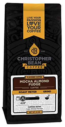 Christopher Bean Coffee Flavored Whole Bean Coffee, Mocha Almond Fudge, 12 Ounce