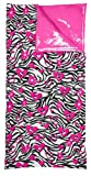 Hot Pink Hearts and Flowers Zebra Printed Reversible Sleeping Bag, Outdoor Stuffs