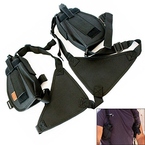 Under Control Tactical Ultimate Double Shoulder Holster (Holds 2 Guns + 2 Mags) - Universal Fit for 1911, Glock, Sig Sauer, Springfield, Taurus, Beretta, Ruger & More - Perfect for Concealed Carry
