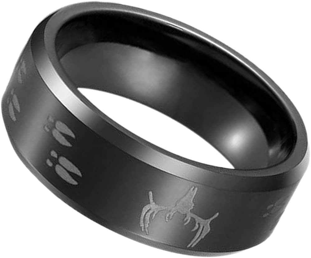 MYVIYSENY Mens 8mm Black Tungsten Carbide Rings Laser Engraved Elk Pattern Wedding Bands