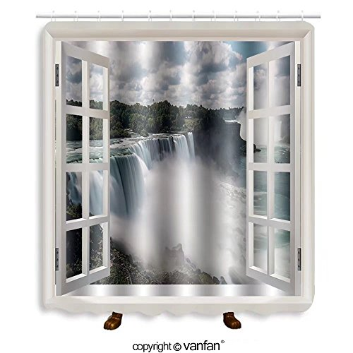 Vanfan designed Windows 125753474 Niagara Falls from USA Landscape ViewC Shower Curtains,Waterproof Mildew-Resistant Fabric Shower Curtain For Bathroom Decoration Decor With Shower - Niagara Outlets Usa Falls