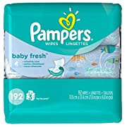 Pampers Baby Wipes Baby Fresh 3X Pop-Top Packs, 192 Diaper Wipes