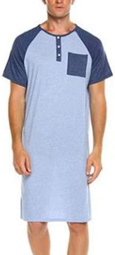 Herren Nachthemd Kurzarm Sleepshirt Schlafanzug Rundhals Knopf Sleepshirt Bequeme Nachtw/äsche mit Tasche Sommer Knopfleiste Knielang Nachthemd