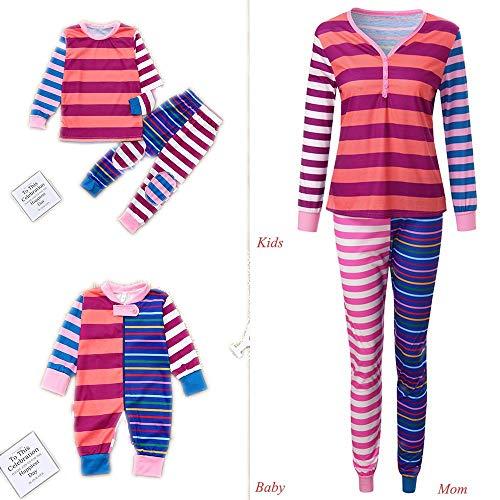 Matching Family Pajamas PJS Sets Christmas Sleepwear Stripe Print Homewear Nightwear Adults Boys Kids Pajama Set Outfit by Steagoner Pajamas Sets (Image #1)
