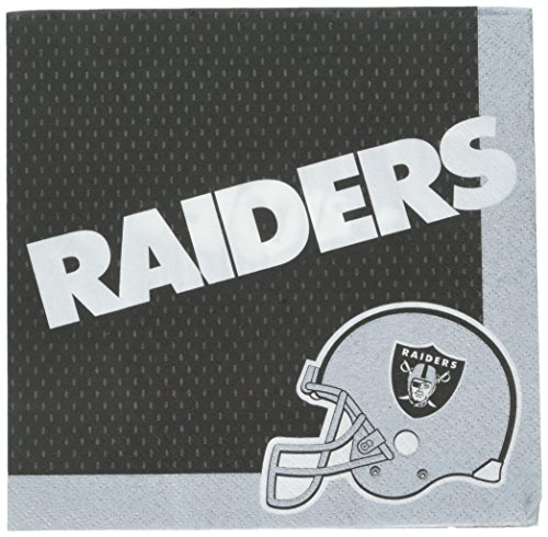 - Amscan Oakland Raiders Luncheon Napkins NFL Or Football Sports Party Tableware Childrens, 96 Pieces