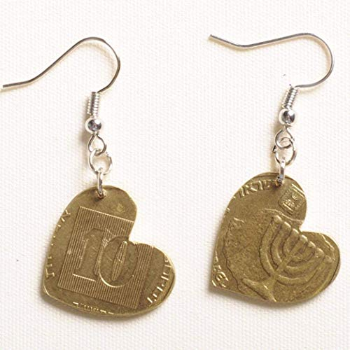 Coin earrings in heart shape PRIME handmade jewelry design by artisan designer repurposed made from upcycled recycled israeli money souvenir judaika upcycling by milo unique original fun creations