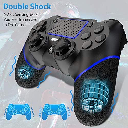 Game Controller for PS4, Wireless Controller for Playstation 4/Pro/Slim/PC, Touch Panel Gamepad with Dual Vibration and Audio Function, LED Indicator, USB Cable and Anti-Slip