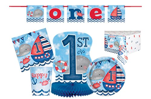 First Birthday Little Sailor Nautical Party Tableware Kit Serves 8 Includes Dinner Plates, Dessert Plates,Beverage Napkins,Lunch Napkins,Cups,Banner,Centerpiece & Table cover - 58 (1st Birthday Lunch Napkins)