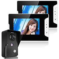 GAMWATER 7 Inch Video Door Phone Doorbell Intercom Kit 1-camera 2-monitor Night Vision with IR-CUT HD 1000TVL Camera Handfree intercom