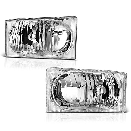 VIPMotoZ 1999-2004 Ford F-250 F-350 Superduty Excursion Headlights - [Factory Style] - Metallic Chrome Housing, Driver and Passenger Side