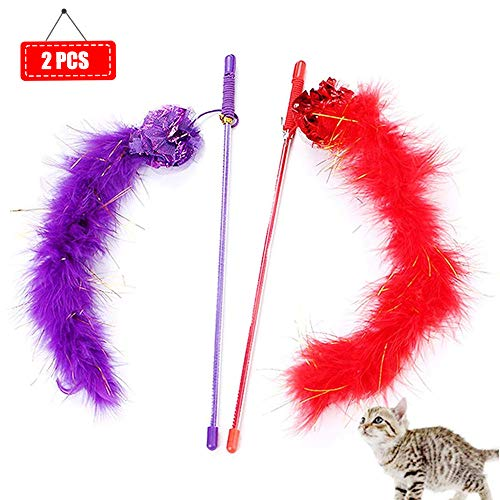 Cat Wand Toy Interactive Cat Toys Cat Teaser Wand with Sound Paper and Feather for Cat Kitten 2 Pcs [Red, Purple]