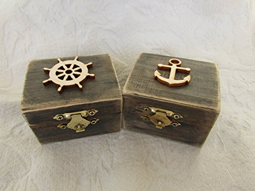HIS and HERS Beachy Coastal Nautical Rustic Wedding Ring BOx Gift Box Trinket Box Wedding Decor