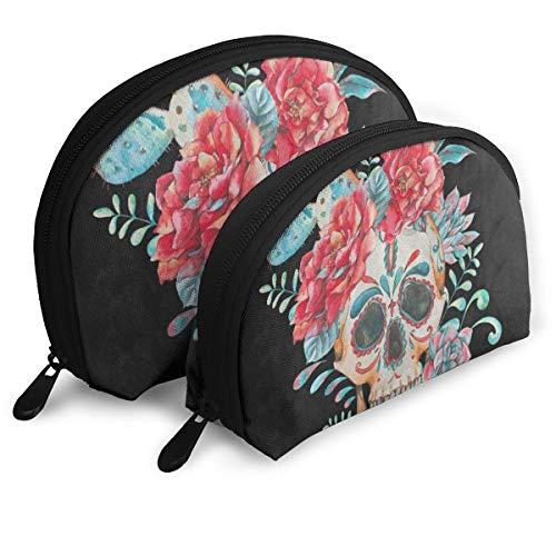 Makeup Bag Cactus Rose Flower Sugar Skull Dia De Los Muertos Handy Shell Cosmetic Bags Storage For Women ()