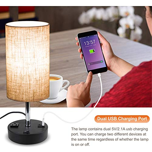 Lifeholder USB Lamp, Table Lamp with Warm White LED Bulb, Bedside Nightstand Lamp Built in Dual USB Port & A Power Outlet, Desk Lamp Perfect for Bedroom, Living Room or Office (Round)