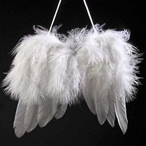 Mini Angel White Feather Wing Hanging Ornament for Wedding Christmas Costume Dance Party Cosplay Stage Show Decor (Angel Wing Ornaments Feather)
