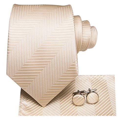 Dubulle Beige Ties for Men with Hanky Cream Necktie and Cufflinks
