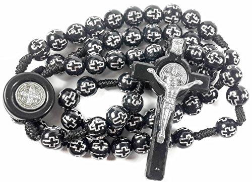 - Saint Benedict Catholic Rosary Necklace NR Medal with Black Crosses Beads Prayer Cross
