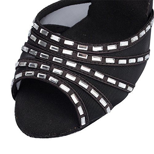 Señora América Malla Rombo Con Zapatos De Baile Zapatos De Baile Rumba Cha Negro de 8cm.
