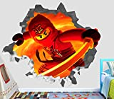 Lego Ninjago Red Kai Wall Decal Smashed 3D Sticker Vinyl Decor Mural Kids Movie - Broken Wall - 3D Designs - OP162 (Large (Wide 40'' x 36'' Height))
