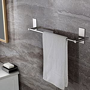 Taozun Self Adhesive 21.65-Inch Bathroom Towel Bar Brushed SUS 304 Stainless Steel Bath Wall Shelf Rack Hanging Towel Stick On Sticky Hanger Contemporary Style